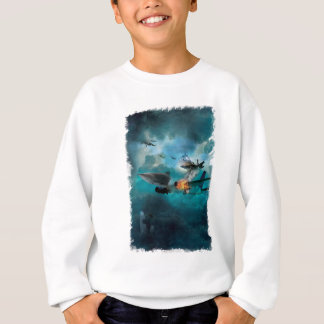 Wellcoda Shark Attack Airplane Air Combat Sweatshirt