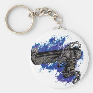 Wellcoda Skeleton Revolver Pistol Chain Basic Round Button Key Ring