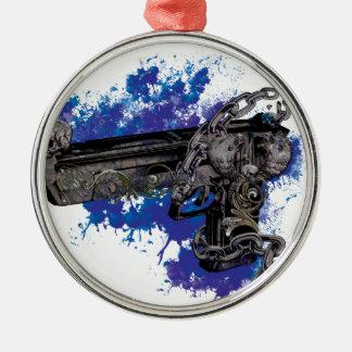 Wellcoda Skeleton Revolver Pistol Chain Christmas Ornament