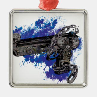 Wellcoda Skeleton Revolver Pistol Chain Christmas Ornament