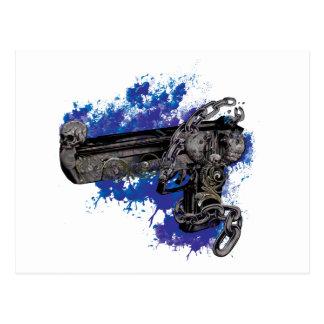 Wellcoda Skeleton Revolver Pistol Chain Postcard