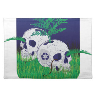 Wellcoda Skeleton Skull Earth Recycle Pot Placemat