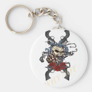 Wellcoda Skeleton Skull Pistol Gun Rose Basic Round Button Key Ring