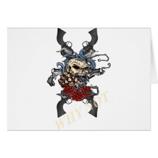 Wellcoda Skeleton Skull Pistol Gun Rose Card