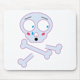 Wellcoda Skull Bone Emoji Fun Scared Head Mouse Mat