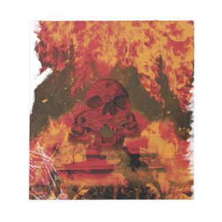 Wellcoda Skull Fire Death Tank Burning Notepad