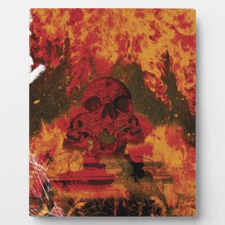 Wellcoda Skull Fire Death Tank Burning Plaque
