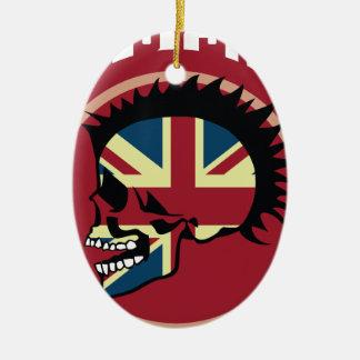 Wellcoda Skull Head Anarchy System Punk Christmas Ornament