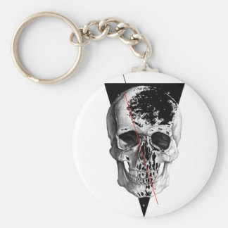 Wellcoda Skull Triangle Death Horror Face Basic Round Button Key Ring