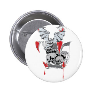 Wellcoda Skull Vampire Scary Evil Monster 6 Cm Round Badge