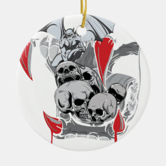 Wellcoda Skull Vampire Scary Evil Monster Christmas Ornament