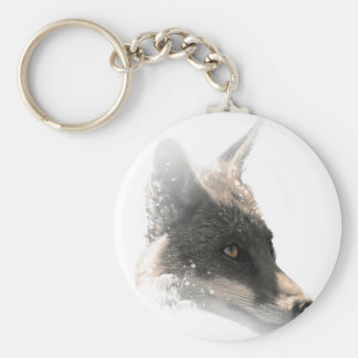 Wellcoda Snowy Wolf Head Animal Portrait Basic Round Button Key Ring