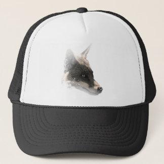 Wellcoda Snowy Wolf Head Animal Portrait Trucker Hat