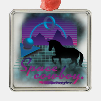 Wellcoda Space Galaxy Cowboy 80's Horse Christmas Ornament