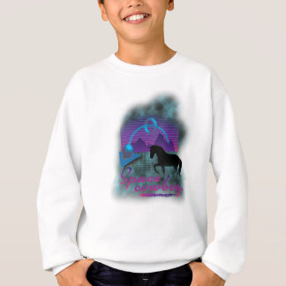 Wellcoda Space Galaxy Cowboy 80's Horse Sweatshirt
