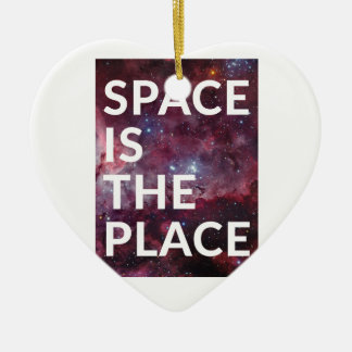 Wellcoda Space Is The Place Fun Big Planet Ceramic Heart Decoration