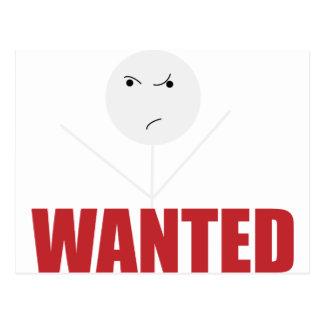 Wellcoda Stick Man Bad Mood Wanted Grumpy Postcard
