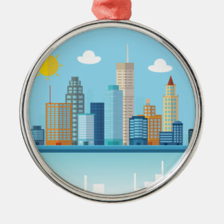 Wellcoda Sun City View Town Sydney Coast Silver-Colored Round Decoration