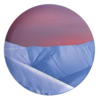 Wellcoda Sun Set Snow Mountain Ice Glacier Plate