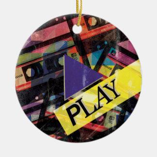 Wellcoda Tape Cassette Play Music Lover Round Ceramic Decoration