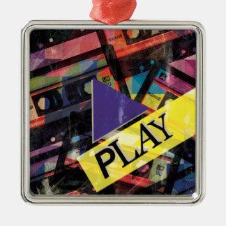 Wellcoda Tape Cassette Play Music Lover Silver-Colored Square Decoration