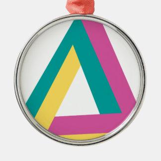 Wellcoda Triangle Drive Shape Summer Fun Silver-Colored Round Decoration