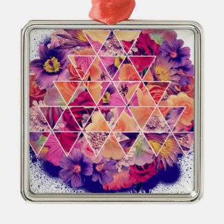 Wellcoda Triangle Shape Flower Paint Rose Silver-Colored Square Decoration