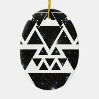 Wellcoda Triangle Star Night Sky Line Love Ceramic Oval Decoration