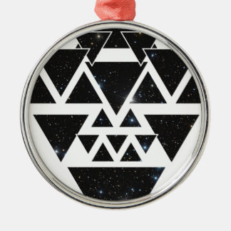 Wellcoda Triangle Star Night Sky Line Love Silver-Colored Round Decoration