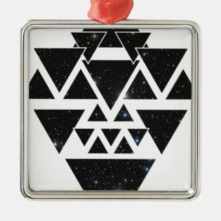Wellcoda Triangle Star Night Sky Line Love Silver-Colored Square Decoration