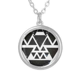 Wellcoda Triangle Star Night Sky Line Love Silver Plated Necklace