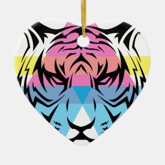 Wellcoda Triangle Tiger Face Wild Animal Ceramic Heart Decoration