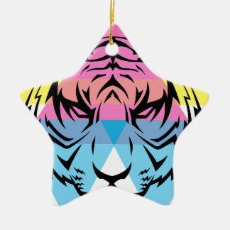 Wellcoda Triangle Tiger Face Wild Animal Ceramic Star Decoration