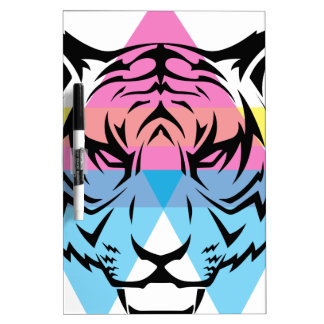 Wellcoda Triangle Tiger Face Wild Animal Dry Erase Board