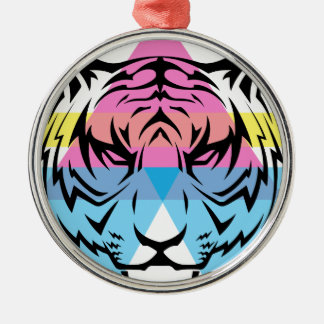 Wellcoda Triangle Tiger Face Wild Animal Silver-Colored Round Decoration