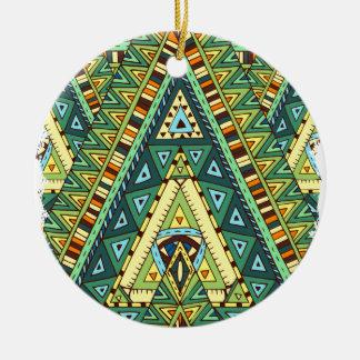 Wellcoda Tribal Style Pattern Crazy Vibe Round Ceramic Decoration