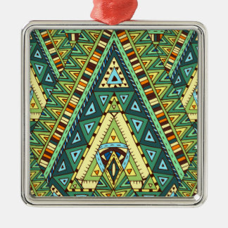 Wellcoda Tribal Style Pattern Crazy Vibe Silver-Colored Square Decoration
