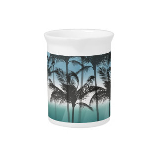 Wellcoda Tropical Palm Tree Paradise Life Pitcher