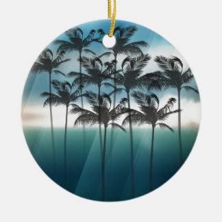 Wellcoda Tropical Palm Tree Paradise Life Round Ceramic Decoration