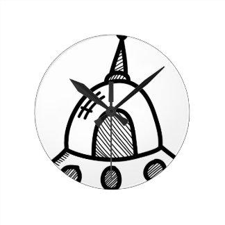 Wellcoda UFO Alien Spaceship Future Flight Round Clock