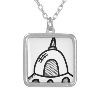 Wellcoda UFO Alien Spaceship Future Flight Silver Plated Necklace