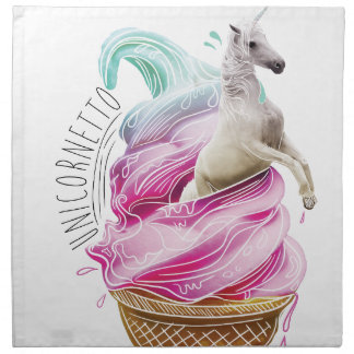 Wellcoda Unicorn Cornetto Fun Ice Cream Napkin