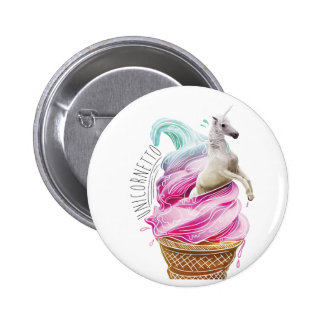Wellcoda Unicorn Ice Cream Fun Myth Love 6 Cm Round Badge