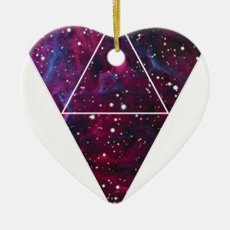 Wellcoda Universe Of Triangles Space Life Ceramic Heart Decoration