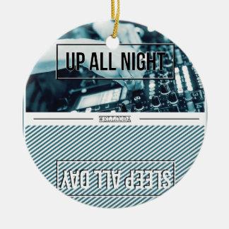 Wellcoda Up All Night DJ Mixer Sleep Day Round Ceramic Decoration