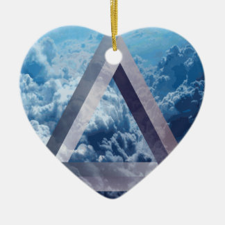 Wellcoda Up In The Clouds Shape Triangle Ceramic Heart Decoration