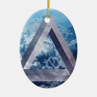 Wellcoda Up In The Clouds Shape Triangle Ceramic Oval Decoration