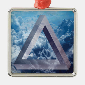Wellcoda Up In The Clouds Shape Triangle Silver-Colored Square Decoration
