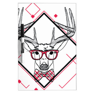 Wellcoda Urban Reindeer Swag Hipster Stag Dry Erase Board