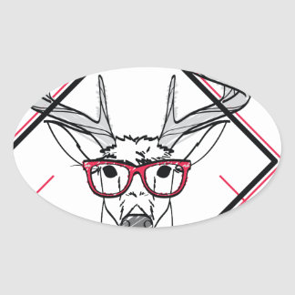 Wellcoda Urban Reindeer Swag Hipster Stag Oval Sticker